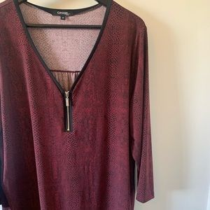 2/$18 Burgundy / Snake Print / Blouse / 3/4 Sleeve